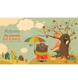 Cute animals walking in autumn forest vector image vector image