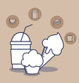 delicious ice cream with set food character vector image vector image