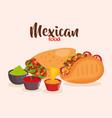 delicious mexican food icons vector image vector image