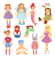 different dolls fashion young clothes character vector image vector image