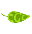 eco leaf icon with text sign of ecofriendly vector image vector image