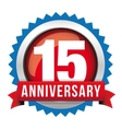 Fifteen years anniversary badge with red ribbon vector image