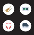 flat icons earphone octave keyboard fiddle and vector image vector image