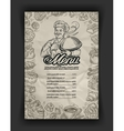 hand drawn menu restaurant sketch and chef vector image