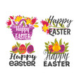 Happy easter isolated greeting icons eggs and
