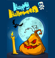 happy halloween posterwith pumpkin vector image vector image