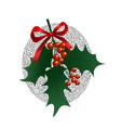 holly branch on white background christmas symbol vector image vector image