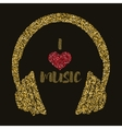 I love music Gold style Headphones with text vector image vector image