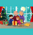 kids opening christmas present from grandparents vector image vector image
