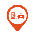 map icon with electric car vector image vector image