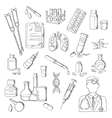 Medicines medical laboratory equipments sketches vector image
