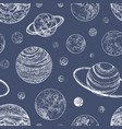 monochrome seamless pattern with planets and other vector image vector image