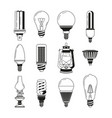 monochrome symbols of light different bulbs in vector image vector image
