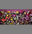music hand drawn doodle banner cartoon vector image vector image