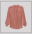 powder silk blouse a classic shirt oversize vector image vector image