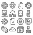 recovery and repair icons set line style vector image vector image