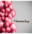 red balloon hearts with lettering retro emblem vector image vector image