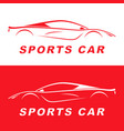 red sports car silhouette logo design vector image