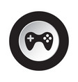 round black white button icon with gamepad vector image