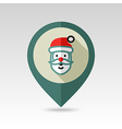 Santa Claus face Christmas pin map icon vector image