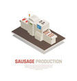 sausages manufacturing isometric composition vector image vector image