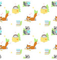 seamless pattern with cute squirrel and vector image vector image