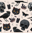 seamless pattern with raven and black cat vector image vector image