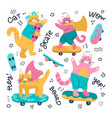 set cat skateboarders and different vector image