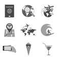 set of travel icons and symbols in trendy flat vector image vector image