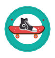skateboard with young shoe icon vector image vector image