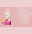 surprise pink gift box with a gold bow and ribbon vector image