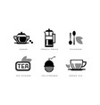 tea icons set sugar french press teaspoon vector image