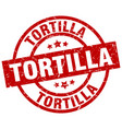 tortilla round red grunge stamp vector image vector image