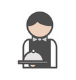 waiter icon with uniform at the restaurant vector image vector image