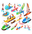 water sport isometric set vector image vector image