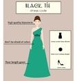 Woman dress code infographic Black tie vector image vector image