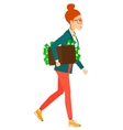 Woman with suitcase full of money vector image vector image