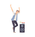 young man dancing close to the acoustic audio vector image