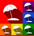 umbrella and sun lounger sign set of vector image