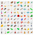 100 holidays icons set isometric 3d style vector image vector image