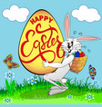 a humorous picture on easter a sweaty rabbit vector image vector image