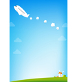 Airplane and blue Sky background vector image vector image
