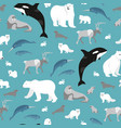 arctic animals seamless repeating pattern vector image