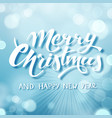 blue merry christmas text hand drawn lettering vector image vector image