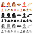 care of hair and face cartoon icons in set vector image