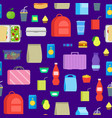 cartoon color school lunch food boxes seamless vector image