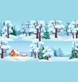 cartoon winter forest landscapes village in woods vector image vector image