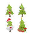 christmas tree cartoon fun character vector image