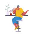 coffee break man drinks hot beverage cartoon vector image vector image