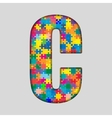 Color Puzzle Piece Jigsaw Letter - C vector image vector image